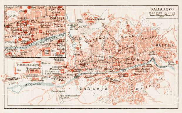 Sarajevo city map, 1903. Use the zooming tool to explore in higher level of detail. Obtain as a quality print or high resolution image