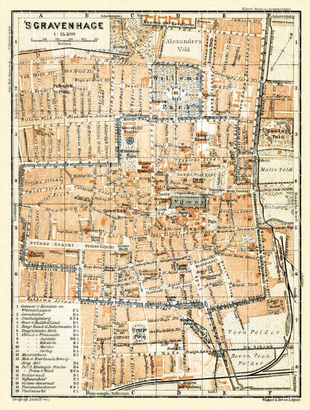 Old map of The Hague Den Haag sGravenhage in 1904 Buy vintage
