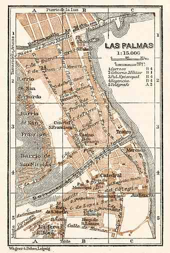 Las Palmas de Gran Canaria, city centre map, 1911