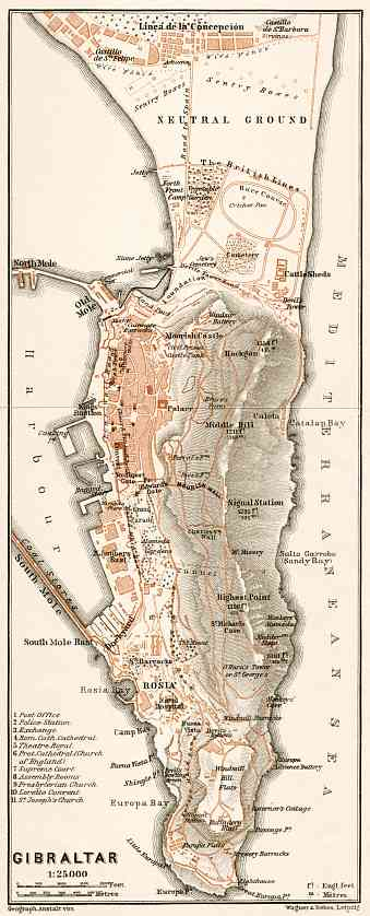 Gibraltar and environs map, 1911