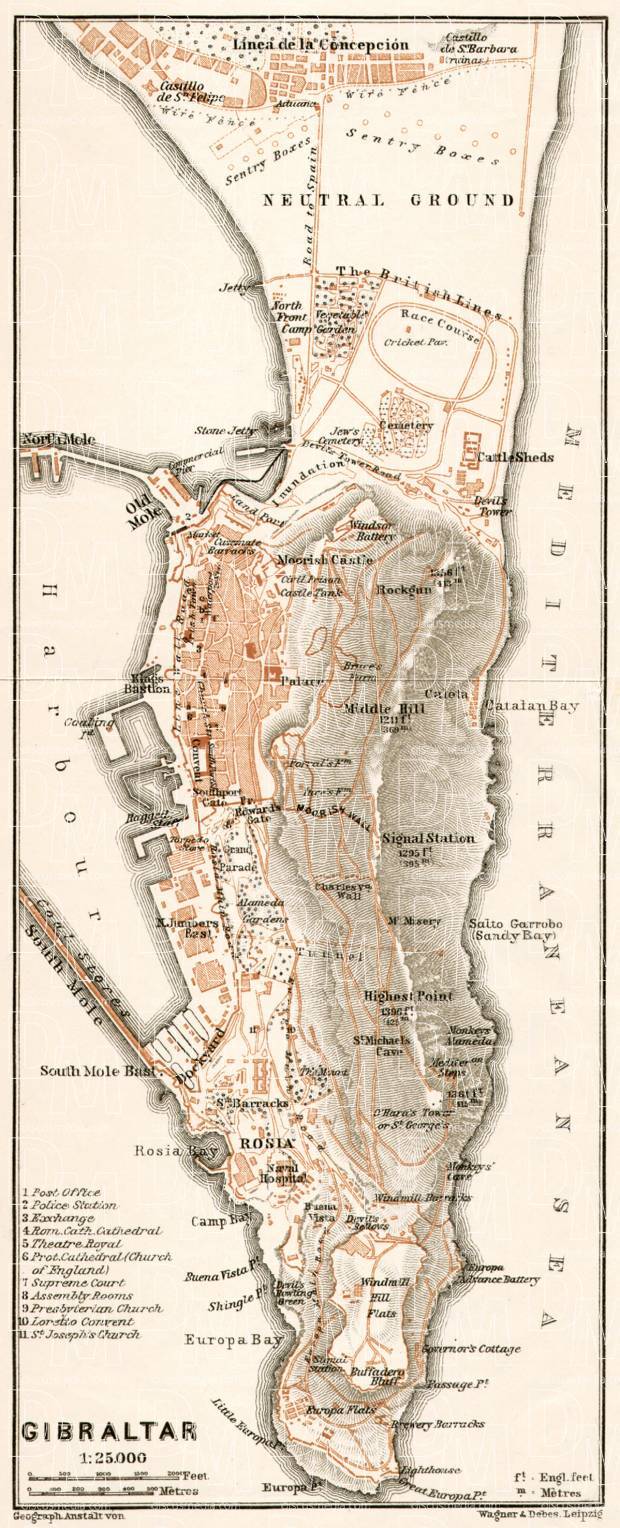 Gibraltar and environs map, 1911. Use the zooming tool to explore in higher level of detail. Obtain as a quality print or high resolution image
