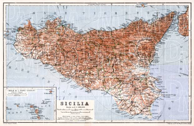 Sicilia (Sicily) map with Lipari Isle map inset, 1929. Use the zooming tool to explore in higher level of detail. Obtain as a quality print or high resolution image