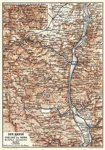 Map of the Course of the Rhine from Coblenz to Bonn, 1887