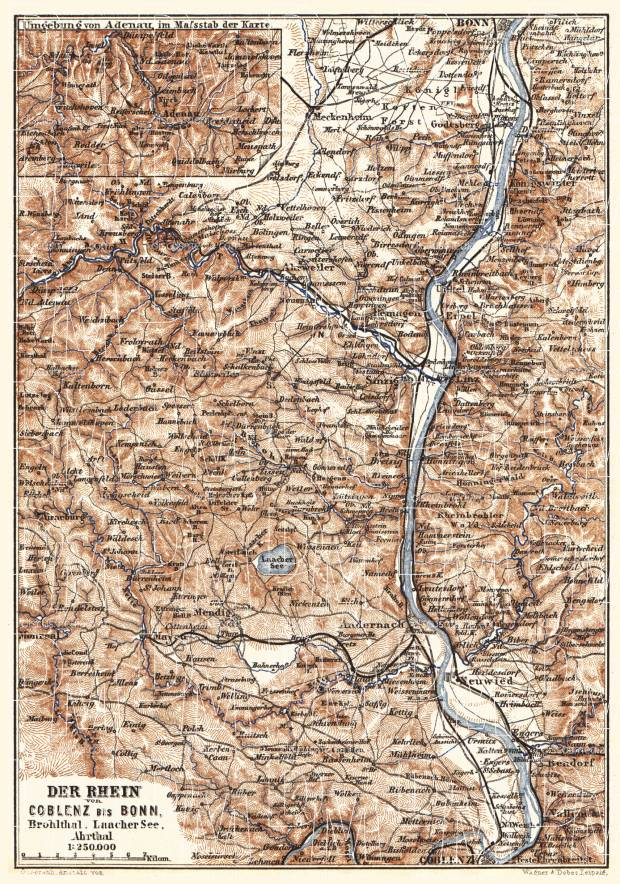Map of the Course of the Rhine from Coblenz to Bonn, 1887. Use the zooming tool to explore in higher level of detail. Obtain as a quality print or high resolution image