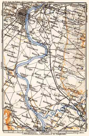 Map of the Course of the Rhine from Cologne to Bonn, 1905