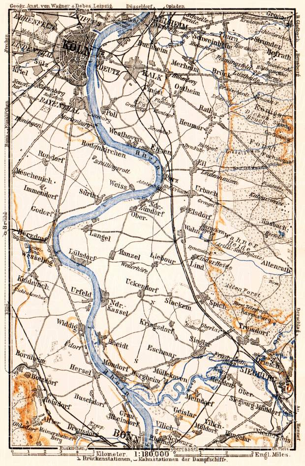 Map of the Course of the Rhine from Cologne to Bonn, 1905. Use the zooming tool to explore in higher level of detail. Obtain as a quality print or high resolution image