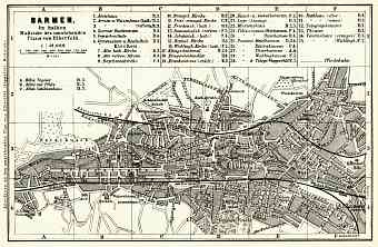 Barmen (now part of Wuppertal) city map, 1887