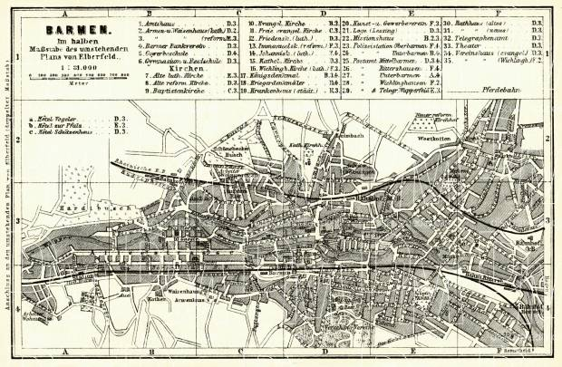 Barmen (now part of Wuppertal) city map, 1887. Use the zooming tool to explore in higher level of detail. Obtain as a quality print or high resolution image