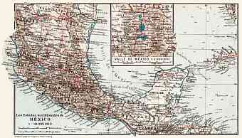Map of the Southern Mexico, 1909