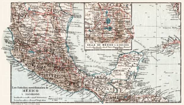 Map of the Southern Mexico, 1909. Use the zooming tool to explore in higher level of detail. Obtain as a quality print or high resolution image