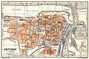 Ostend (Ostende) city map, 1904