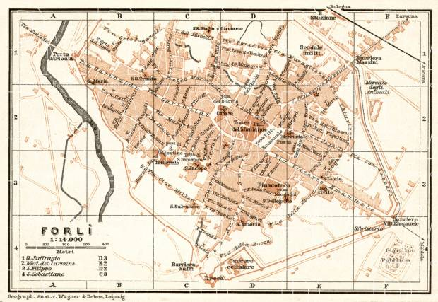 Forlì city map, 1909. Use the zooming tool to explore in higher level of detail. Obtain as a quality print or high resolution image