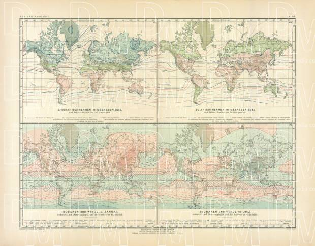 World Climate Map, 1905. Use the zooming tool to explore in higher level of detail. Obtain as a quality print or high resolution image