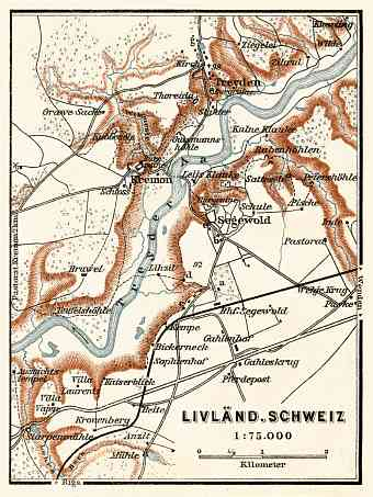 Livonian Switzerland (Sigulda, or Switzerland of Vidzeme) map, 1914