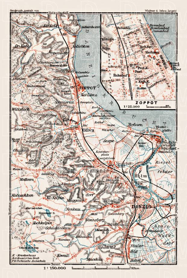Old map of Danzig Gdask vicinity up to Zoppot Sopot in 1911