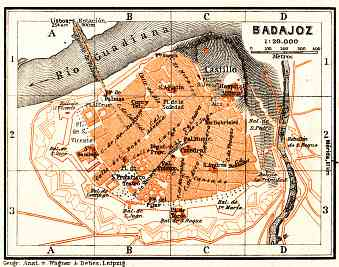 Badajoz city map, 1929