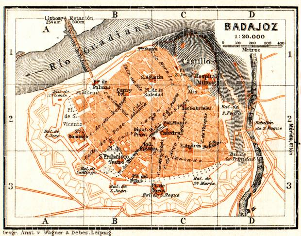 Badajoz city map, 1929. Use the zooming tool to explore in higher level of detail. Obtain as a quality print or high resolution image