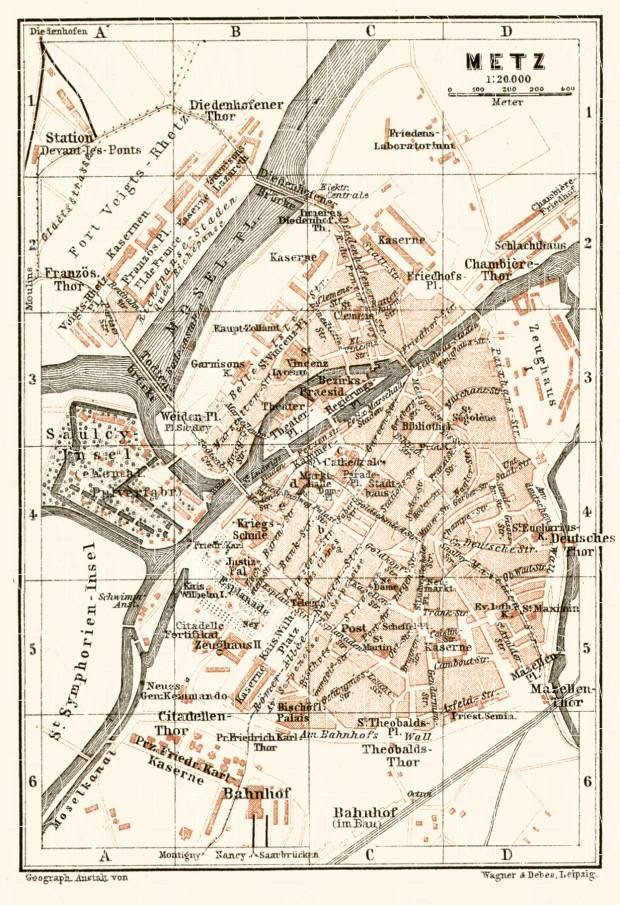 Old Map Of Metz In 1905 Buy Vintage Map Replica Poster Print Or