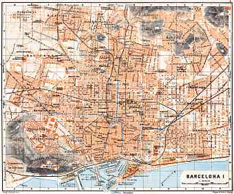 Barcelona city map, 1929