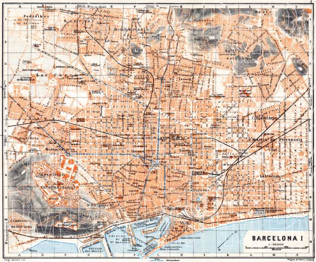 Barcelona city map, 1929. Use the zooming tool to explore in higher level of detail. Obtain as a quality print or high resolution image