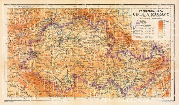 Map of Czechia and Moravia, 1913. Use the zooming tool to explore in higher level of detail. Obtain as a quality print or high resolution image