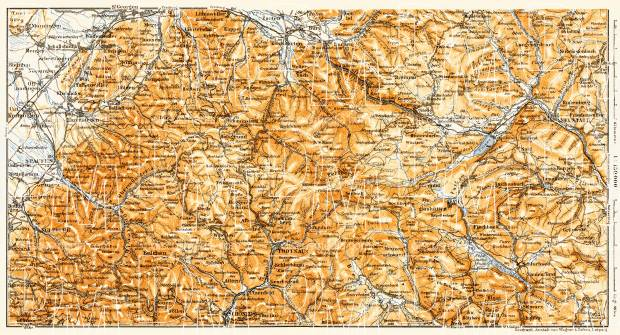 Schwarzwald (the Black Forest). Höll Valley and Feldberg district map, 1905. Use the zooming tool to explore in higher level of detail. Obtain as a quality print or high resolution image