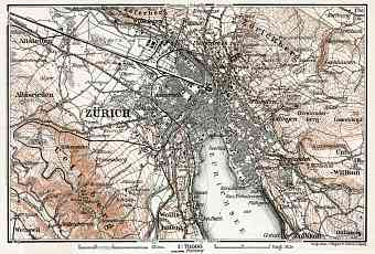 Zürich and environs map, 1909