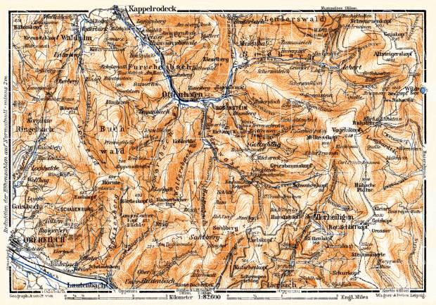 Schwarzwald (the Black Forest) map: from Oberkirch to Kappelrodeck, 1905. Use the zooming tool to explore in higher level of detail. Obtain as a quality print or high resolution image