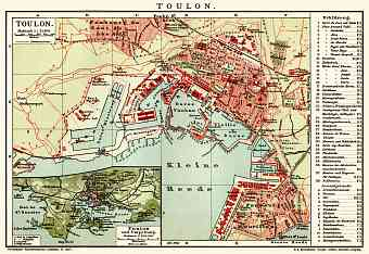 Toulon town plan. Map of the environs of Toulon, 1903