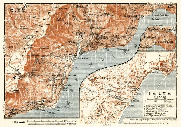 Yalta (Ялта) town plan, with map of the environs, 1914. Use the zooming tool to explore in higher level of detail. Obtain as a quality print or high resolution image