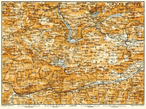 South Salzkammergut map, 1906. Use the zooming tool to explore in higher level of detail. Obtain as a quality print or high resolution image