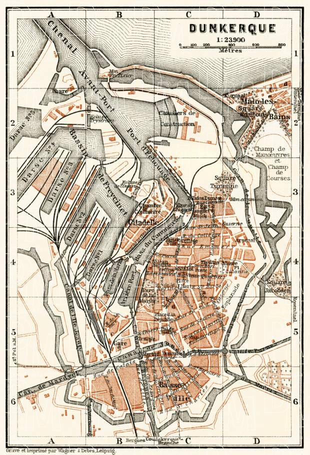 Dunkerque (Dunkirk) city map, 1913. Use the zooming tool to explore in higher level of detail. Obtain as a quality print or high resolution image