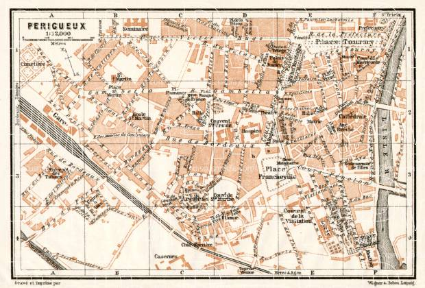 Périgueux city map, 1902. Use the zooming tool to explore in higher level of detail. Obtain as a quality print or high resolution image