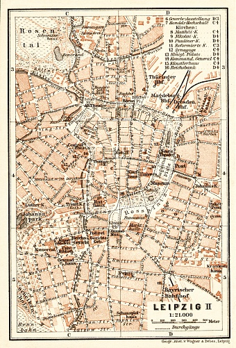 Leipzig, city centre map, 1906
