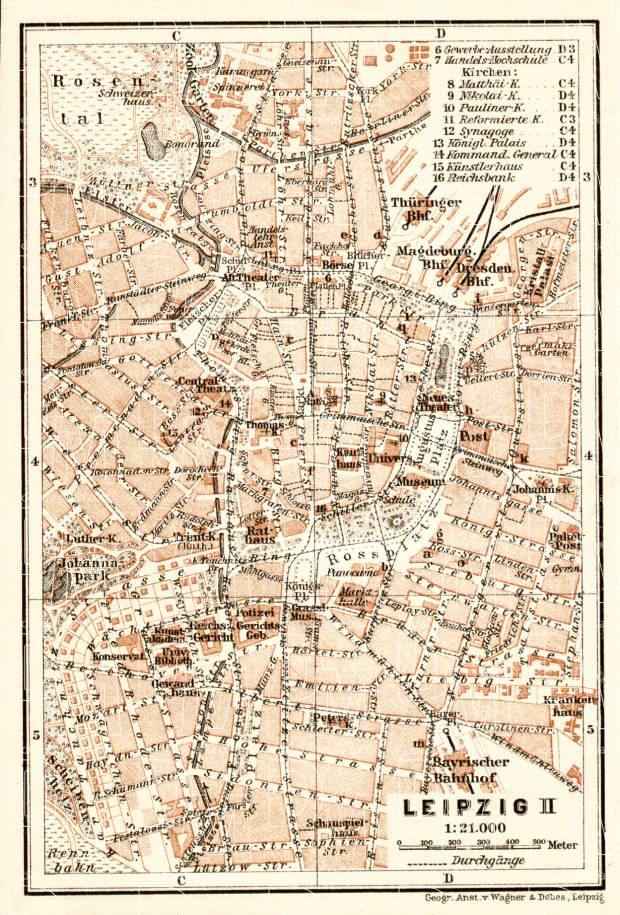 Old map of Leipzig Center in 1906 Buy vintage map replica poster
