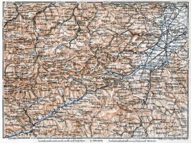 Schneeberg, Semmering and Mürztal map, 1911. Use the zooming tool to explore in higher level of detail. Obtain as a quality print or high resolution image