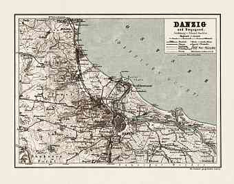 Danzig (Gdańsk) and environs map, 1911