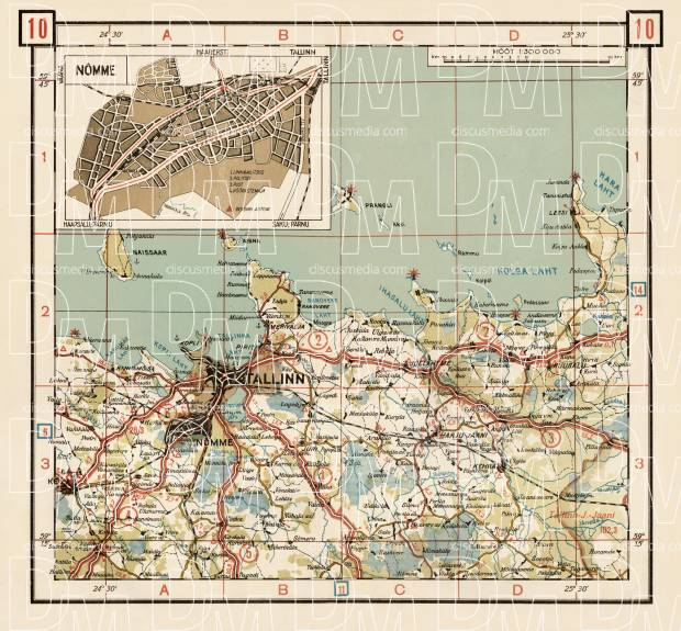 Old map of the north Estonia around Tallinn in 1938. Buy vintage map ...