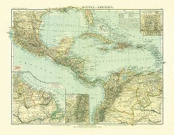 Central America Map, 1905