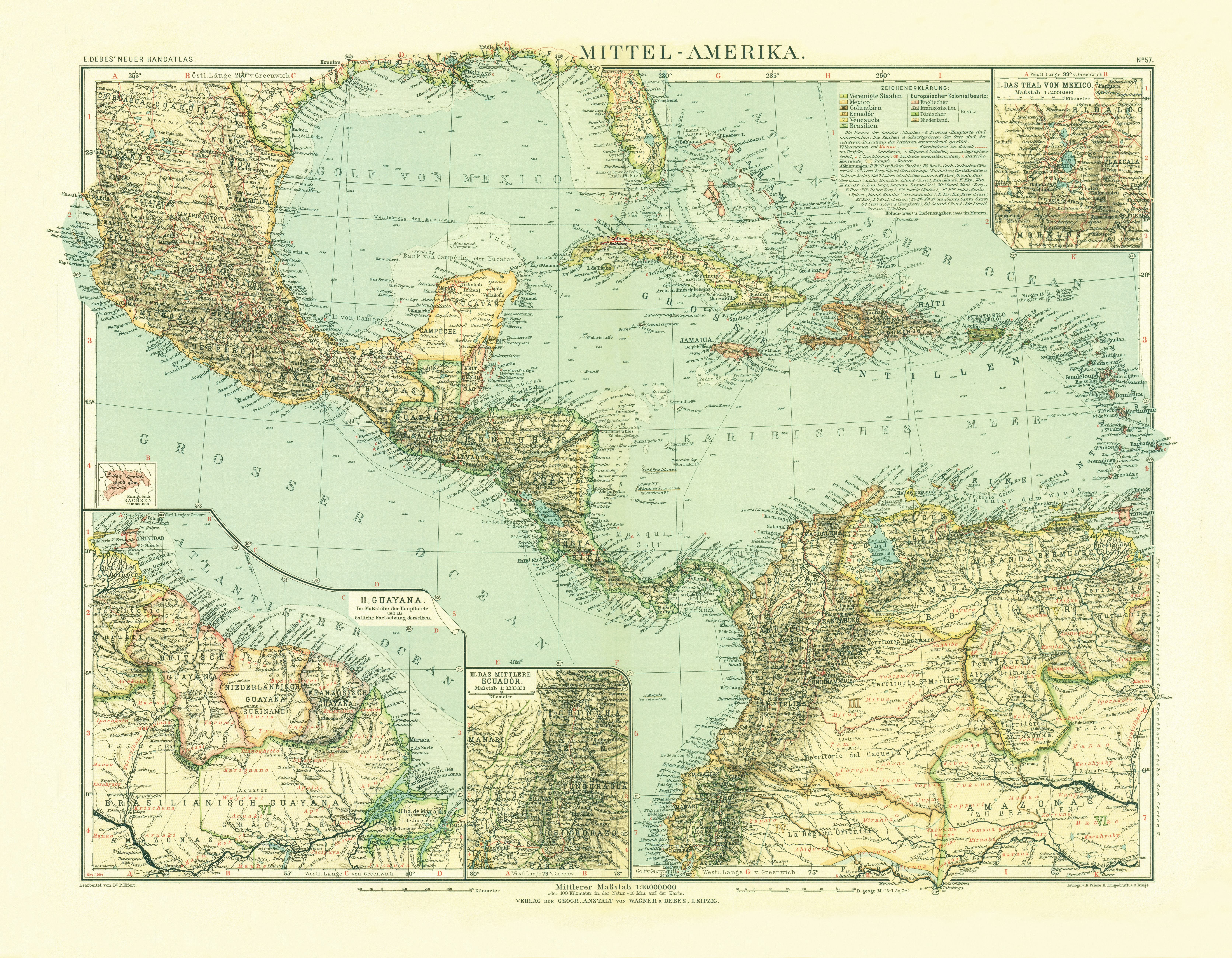 Old map of the Middle America in 1905. Buy vintage map replica ...