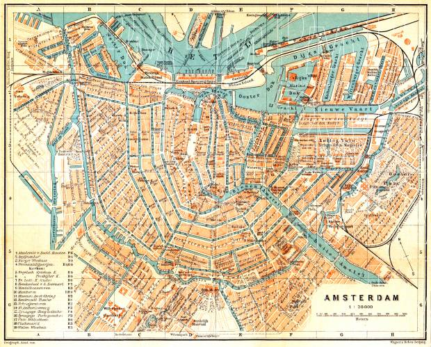 Vaak Old map of Amsterdam in 1904. Buy vintage map replica poster print  KU54