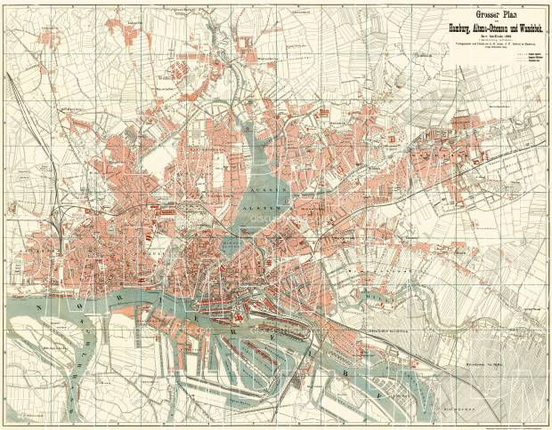 Hamburg, Altona and Wandsbek city map, 1894. Use the zooming tool to explore in higher level of detail. Obtain as a quality print or high resolution image