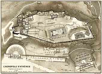 Acropolis in Athens, 1908. Map drawn after Johann August Kaupert