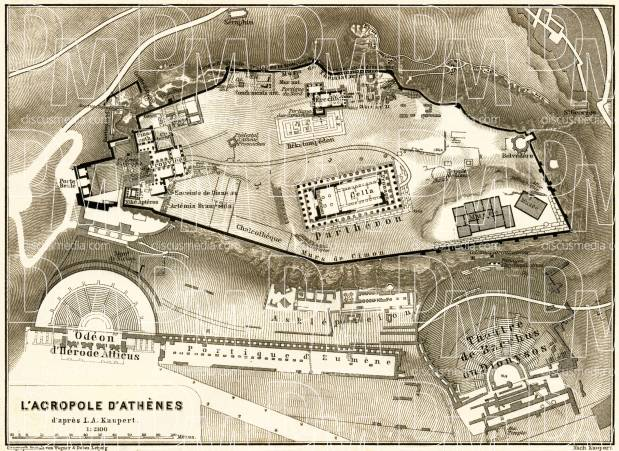 Acropolis in Athens, 1908. Map drawn after Johann August Kaupert. Use the zooming tool to explore in higher level of detail. Obtain as a quality print or high resolution image