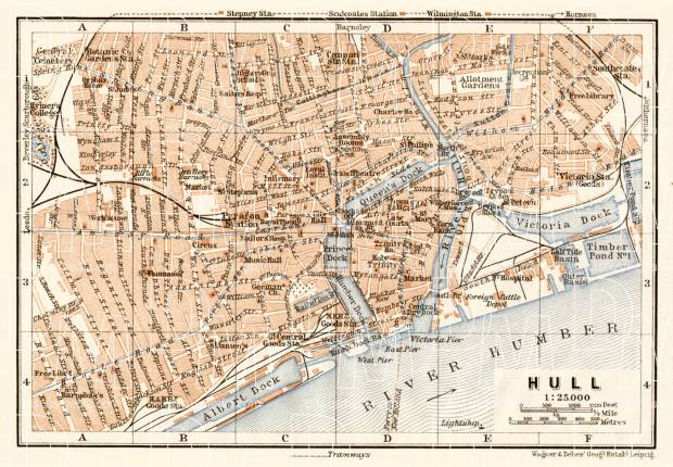 Old map of Kingston upon Hull in 1906 Buy vintage map replica