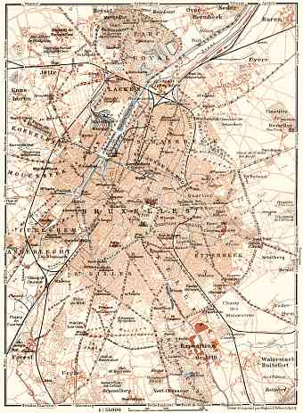 Brussels (Brussel, Bruxelles) and environs map, 1909