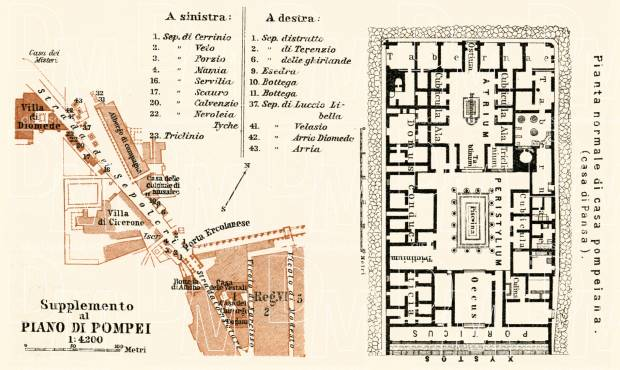 Pompei (Pompeii) town plan, street level inset, 1929. Use the zooming tool to explore in higher level of detail. Obtain as a quality print or high resolution image