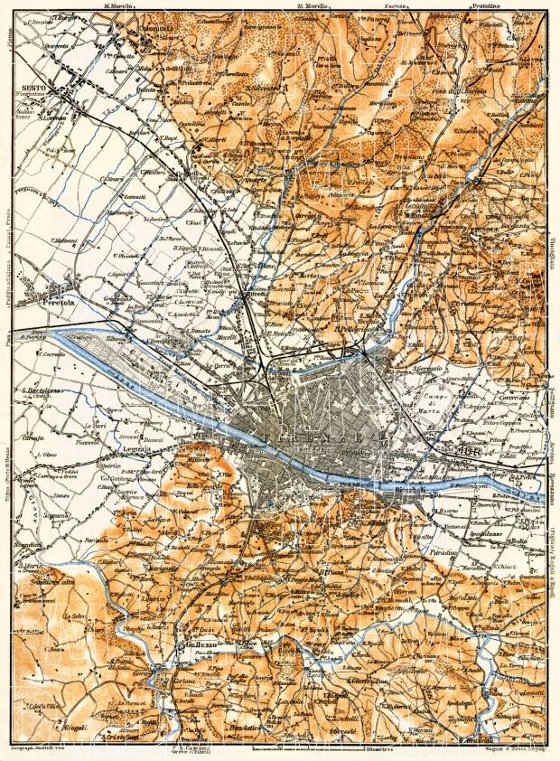 Florence (Firenze) environs map, 1898. Use the zooming tool to explore in higher level of detail. Obtain as a quality print or high resolution image