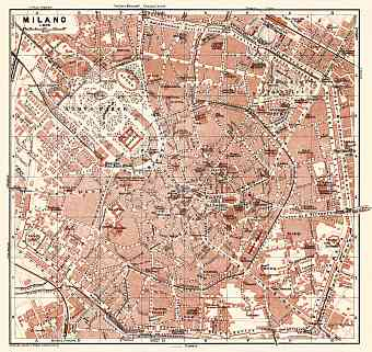 Milan (Milano) city map, 1908