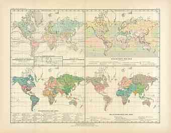 World Temperature, Ocean Currents, Rain, Religions and Population Maps, 1905